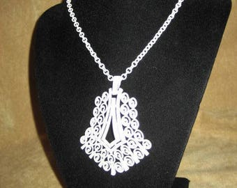 Trifari Necklace White Enamel Pendant & Chain Vintage