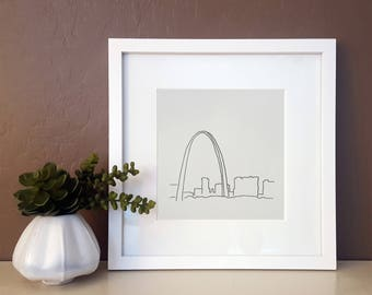 St. Louis Gateway Arch Line art for Travel Lovers - Minimalist Wall Art Drawing - Travel and Architecture