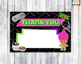 """INSTANT DOWNLOAD Back To The 90s Retro Birthday Party Thank You Card - Digital Printable 4x6"""" .jpg"""