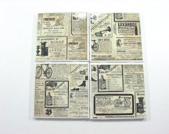Vintage Ads on Tile Coasters,  Decoupage