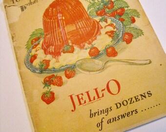 Jell-O Cookbook 1928. Vintage ephemera recipes for Jello gelatin dishes both savory and sweet.