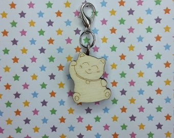 Neko wooden progress keeper - knitting notions - charm