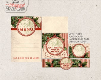 Christmas Dinner Party Decorations DIY, Instant Download, Digital Collage Sheet, Printable Holiday Decorations, Eat Drink and Be Merry