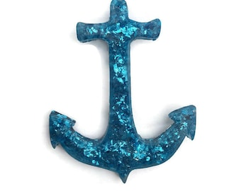 Blue Glitter Anchor Brooch, Retro Resin Brooch, Vintage Style Lucite Pin, Pin up, Rockabilly, 40s, 50s, Nautical