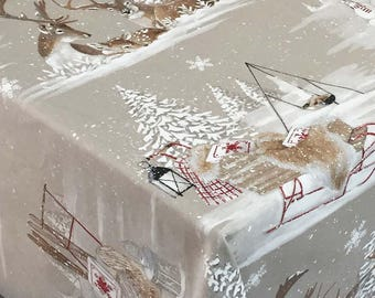 Christmas Tablecloth, Holiday Tablecloth, Large Rectangular or Round Christmas Tablecloth, Winter Tablecloth