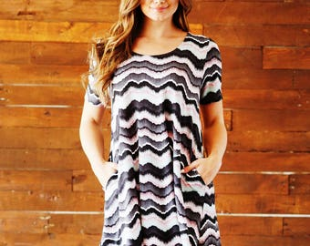 Style By Chris Carson Grey/Mint Print Swing Dress with Pockets and short Sleeves