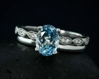 Classic Oval Blue Aquamarine Engagement Ring - Comfort Fit Band - Bridal Set