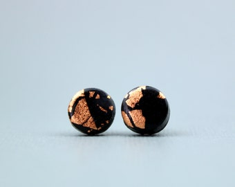 Copper and Black Studs, Black and Copper Leaf Studs, Black and Copper Earrings, Copper Leaf Studs, Copper Studs, Evening Earrings