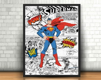 Superman Print, Gift for Him, Gift for Husband, Superman Nursery, Superhero Print, Superhero Party, Vintage Superman, Comic Book Art