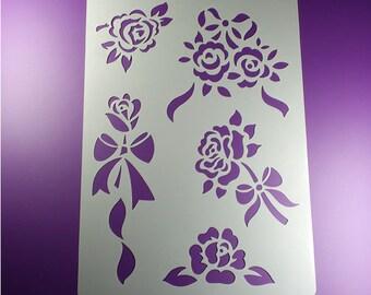 Stencil rose 5 Rose Ribbon Flower Flower-BA46