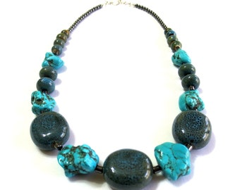Natural Stone Necklace/Men's Turquoise Necklace/ Chunky Magnesite & Ceramic Beads/22-Inch Necklace/Boho Southwestern Necklace/Boyfriend Gift