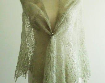 "Wedding handknit light green shawl ""Green meadow"""