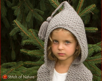 Crochet PATTERN - The Elwood Hooded Scarf  (Toddler to Adult sizes - Girls) - id: 16015