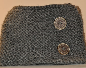 Knit Neck Warmer with Custom Mandala Buttons