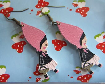 Pink Riding Hood earrings