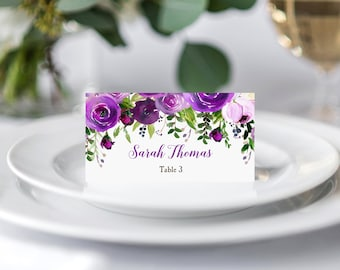 Place Cards Tented or Flat Wedding Birthday Personalized Printed - Purple Bouquet Collection