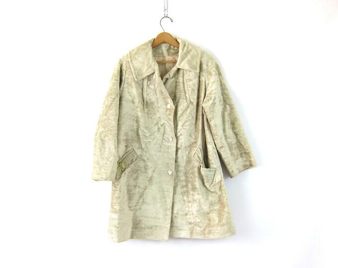 Vintage 60s Faux Fur Coat White Cream Furry Mod Swing Coat 1960s Long Carpet Coat Jacket Modern Plush Coat Hipster Womens Medium Large