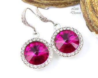 Fuchsia Pink Earrings Hot Pink Earrings Dark Pink Earrings Swarovski Rivoli Earrings Bridesmaid Crystal Earrings Rhinestone Earrings FU34H