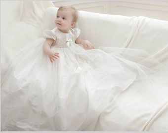 Christening Gown - Lola Baptism gown - Christening dress - Baby Blessing Dress - Christening gown girl -  Lace and tulle Christening gown