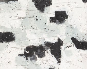 Original Black and White Abstract Encaustic Painting