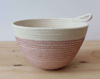 Cotton Rope Small Planter Bowl in Blush Pink // rope bowl // rope vessel // urban jungle // jewellery dish // key bowl