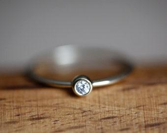Diamond Solitaire Ring, Diamond Engagement Ring. Diamond Stacking Ring, Birthstone Ring, Small Diamond Ring, Tiny Diamond Ring, Baby Diamond