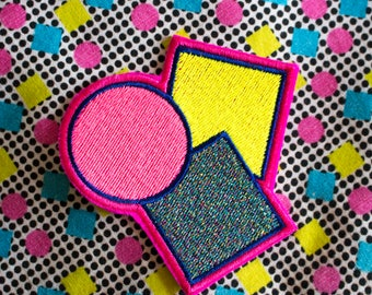 Geo Sonia B - Pink Marine - Abstract-  Embroidered Iron on Patch, Patches, Jacket, Bag, Jeans, Motif, Customise