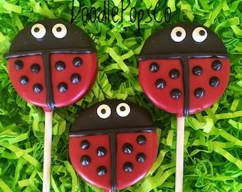 Ladybug Oreo cookie pops / party favor / girls birthday / baby shower / one dozen (12)