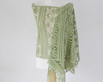 Crochet shawl, green, sage, Q590