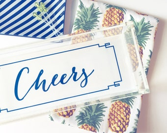 Cheers decor, acrylic tray, pineapple decor, lucite catchall, bar cart tray, acrylic accessory, colorful cheers tray, jewelry organize