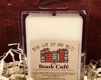 Book Cafe - Book Club - Scented Soy Candle Melt - Book Lover Gift - Booklover - Gift - Book Candle Tart - Book Lovers Tart - Coffee Shop