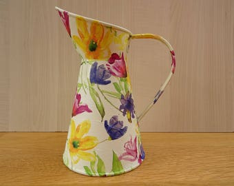 SOLD >>Flower Galvanised Jug , Pitcher or Vases  . Decoupage  . Mother's Day Gift