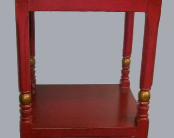 Shabby Painted Antique Wash Stand Red