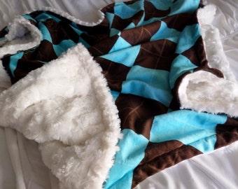 Argyle Minky and Cream Swirl Minky Blanket