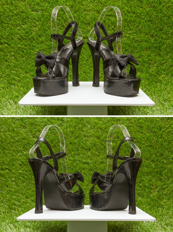 Heel Glitter Cuban Chunky Thick Sexy 6 Pin PVC Platform Shiny 90s Up T Too Goth Strappy Stiletto Strap Bow Vintage Cracked Shoe Black Mega HR1UxE