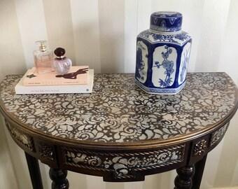 Half Moon Hand Stenciled Hall Table