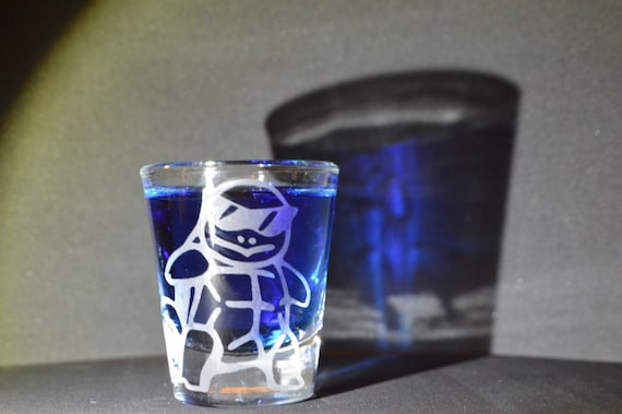 Squirtle Squad leader line art Etched shot glass Fan Art
