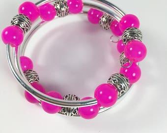 Hot Pink Jade Wrap Bangle Bracelet