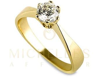 Diamond Ring Women Round Cut Engagement Ring 0.55 Carat D SI1 Certified Diamond 14K Yellow Gold Ring