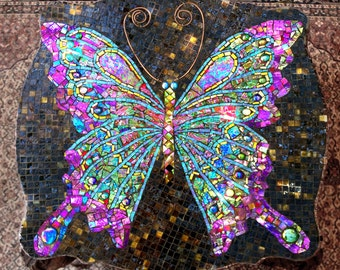 SOLD Mosaic Coffee Table, Side Table. Iridescent Butterfly. Heavy Carved Wood.