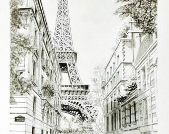 Paris original drawing Tour Eiffel, chinese ink on paper, parisian street views street scene in the 50's