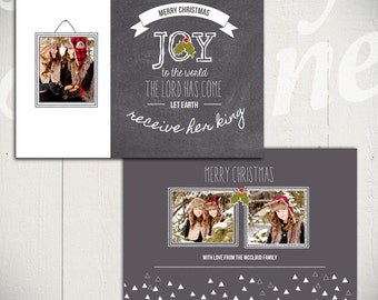 Christmas Card Template: Chalkboard Christmas A - 5x7 Holiday Card Template for Photographers