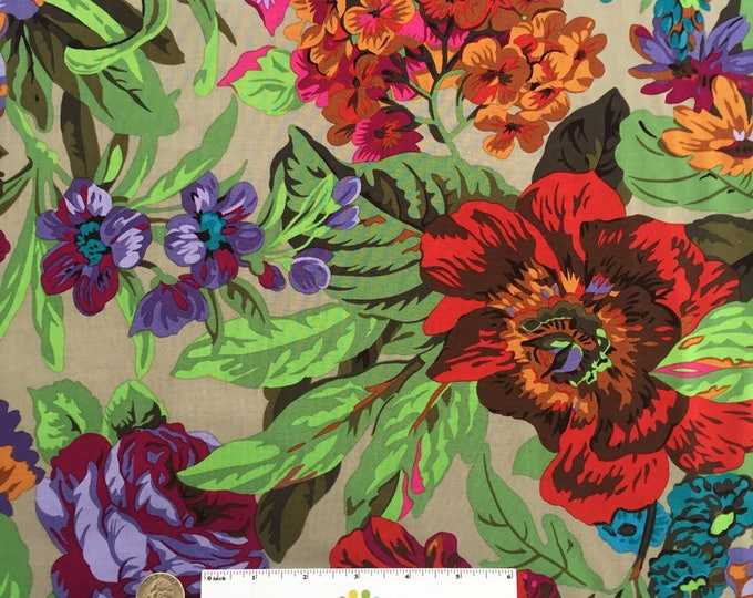VOLUPTUOUS Green Purple Blue Red Floral Flower Quilt Fabric - by the Yard, Half Yard, or Fat Quarter Fq by Phillip Jacobs for Kaffe Fassett