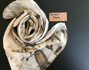 Naturally dyed silk scarf eco print