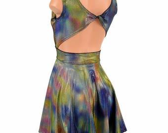 Velvet Oil Spill Holographic Twist Back Scoop Neck Sleeveless Fit and Flare Skater Skate Dress Rave Clubwear EDM - 155114