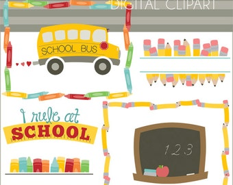 Back to School Clipart Set -Personal and Limited Commercial Use- School Days Clip Art, crayons, pencil, school bus, Classroom Clipart