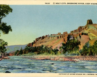 Holy City Along Shoshone River Cody Highway Yellowstone Wyoming Vintage Postcard 1962