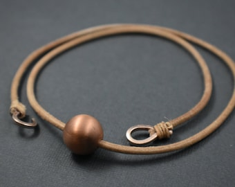 Necklace - Copper sphere natural leather