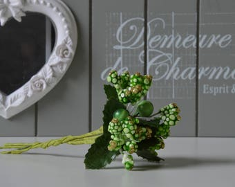 Set of 2 bunches of flowers artificial green color