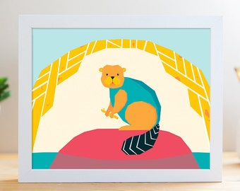 "Blue Beaver // 8x10"" Archival Print"
